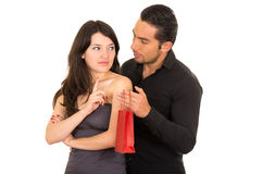 Young beautiful woman refusing to accept gift from Stock Image