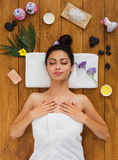 Young beautiful woman relax in aroma spa wellness center Royalty Free Stock Images