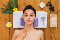 Young beautiful woman relax in aroma spa wellness center Stock Photography