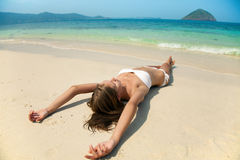 Young Pretty Woman Relax On Sand At Beach Royalty Free Stock Photo