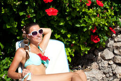 Young beautiful woman relax in  Sicily, Italy Royalty Free Stock Images