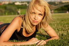 Young beautiful woman relaxing Royalty Free Stock Photography