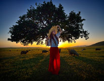 Young beautiful woman relaxing on field in summer Royalty Free Stock Photography