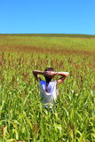 Young beautiful woman relaxing in the middle of a green cereals field during the last days of summer in the Pyrenees mountains Royalty Free Stock Photos