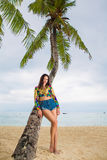 Young beautiful woman relaxing under the palm tree on a tropical Royalty Free Stock Photos