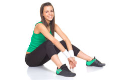 Young beautiful woman relex after fitness.  Royalty Free Stock Photography