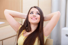 Young beautiful woman resting at home Stock Photography