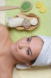 Young beautiful woman resting after spa procedures Royalty Free Stock Image
