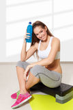 Young beautiful woman resting after work out Royalty Free Stock Image