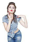 Young beautiful woman in retro pin-up style isolated Stock Photography