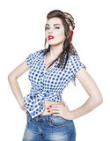 Young beautiful woman in retro pin-up style isolated Stock Photo