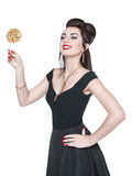 Young beautiful woman in retro pin up style with lollipop Royalty Free Stock Photos