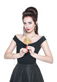 Young beautiful woman in retro pin up style with lollipop Royalty Free Stock Photography