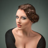 Young beautiful woman retro style portrait Royalty Free Stock Photo