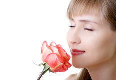 Young beautiful woman rose inhale Stock Images