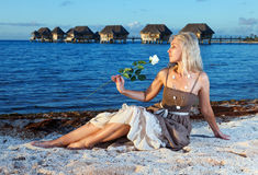 The young beautiful woman with a rose sits on sand at the sea edge during a sunset Stock Photo