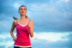 Young Beautiful Woman Running on the Mountain Trail in the Morni Stock Images