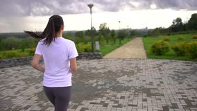 Young beautiful woman running in the Park. Taken from the back. slow-motion. A woman is running in a green park. Slender and athletic young woman is engaged in stock video