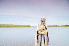 Young beautiful woman in Russian costume Royalty Free Stock Photo