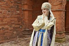 Young beautiful woman in Russian costume Stock Photo