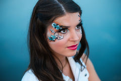 Young beautiful woman with sailor make-up Royalty Free Stock Image