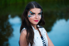 Young beautiful woman with sailor make-up Royalty Free Stock Photography