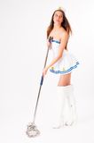 Sexy sailor with mop Royalty Free Stock Image