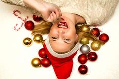 Young beautiful woman in Santa hat. Royalty Free Stock Image
