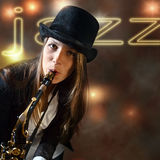 Young beautiful woman with saxophone Royalty Free Stock Image