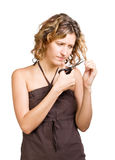 Young  beautiful woman with scissors Royalty Free Stock Photography