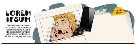 Young beautiful woman screams on fear. Stock illustration. People in retro style. Presentation template. Young beautiful woman screams on fear. Advertising your royalty free illustration