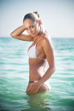 Young beautiful woman in the sea stock image