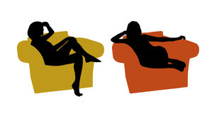 Young beautiful woman seated in the armchair silhouettes set 1 Stock Image