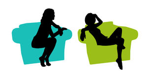 Young beautiful woman seated in the armchair silhouettes set 2 Stock Photos