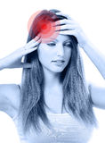 Young beautiful woman with severe headache Royalty Free Stock Images