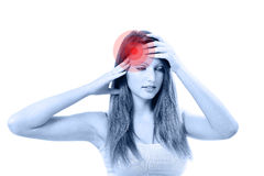 Young beautiful woman with severe headache Stock Image