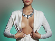 Young Beautiful Woman.Sexy Blond Girl.plastic Surgery Breast Royalty Free Stock Photography