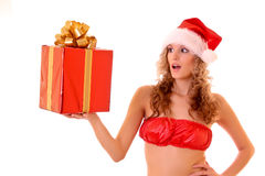 Young beautiful woman in sexy new year suit Royalty Free Stock Photos