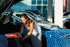 Young beautiful woman shifts the purchase from shopping cart in Stock Photo