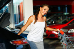 Young beautiful woman shifts the purchase from shopping cart in Stock Images