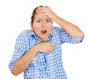 Young beautiful woman in shock and disbelief Royalty Free Stock Photos