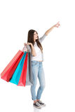 Young beautiful woman is shopping. Royalty Free Stock Images
