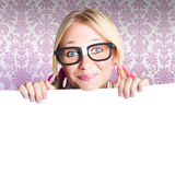 Young Beautiful Woman Showing Blank Sign Board Stock Photography