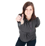 Young beautiful woman showing car keys on white background.  Royalty Free Stock Photos