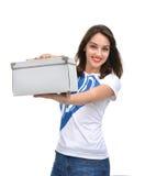 Young beautiful woman showing empty box Stock Photo