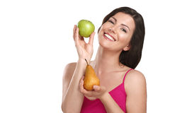 Young beautiful woman showing fresh fruits of season Stock Photography