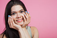 Young beautiful woman showing nail manicure design Stock Images
