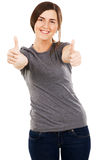 Young beautiful woman showing thumbs up Stock Image