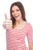 Young beautiful woman showing thumbs up Stock Photo