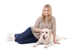 Young beautiful woman sitting with dog isolated on white Stock Images